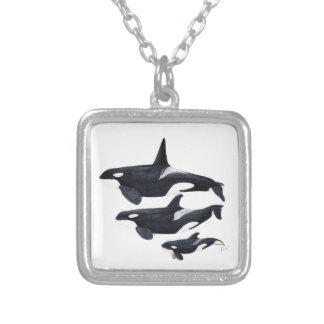 O.orca-fond transparent silver plated necklace
