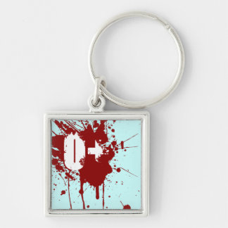 O Positive Blood Type Donation Vampire Zombie Silver-Colored Square Key Ring