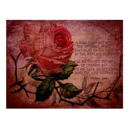O Rose Thou Art Sick Postcard