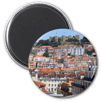 O Rossio e a Colina do Castelo, Lisboa, Portugal 6 Cm Round Magnet
