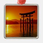 O-Torii Gate, Itsukushima shrine, Miyajima, Silver-Colored Square Decoration