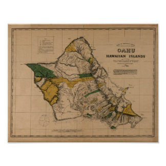 Oahu, 1881, Vintage Hawaii Map Poster