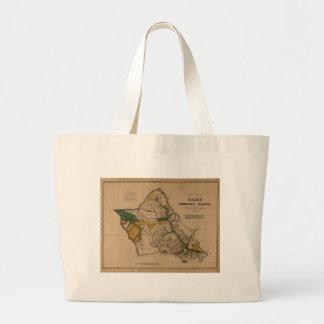 Oahu, 1881, Vintage Hawaii Map Canvas Bag