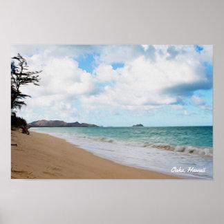 Oahu Hawaii Ocean Waves & Beach Poster