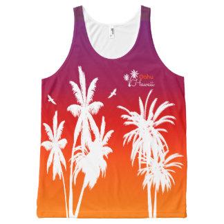 Oahu Hawaii White Palm Trees Purple Sunset Custom All-Over Print Tank Top