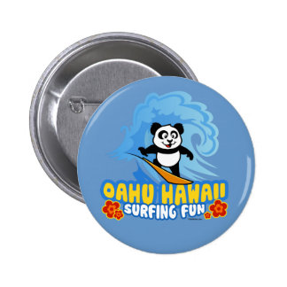 Oahu Surfing Panda 6 Cm Round Badge