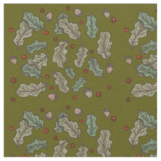 Oak and Holly Solstice Yule Green Background Fabric