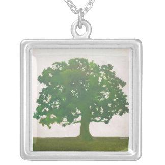 Oak In Spring Square Pendant Necklace