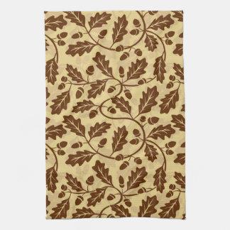 Oak leaf acorn background tea towel