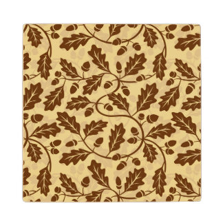 Oak leaf acorn background wood coaster