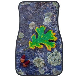 Oak Leaf and Acorns on a Lichen covered rock Car Mat