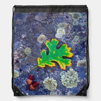 Oak Leaf and Acorns on a Lichen covered rock Drawstring Bag