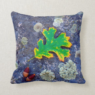 Oak Leaf and Acorns on a Lichen covered rock Throw Pillow