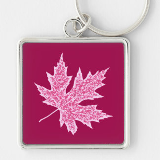 Oak leaf - burgundy wine and pink key ring