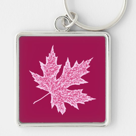 Oak leaf - burgundy wine and pink Silver-Colored square key ring