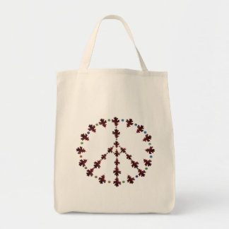 Oak leaf Peace symbol with dots Grocery Tote Bag