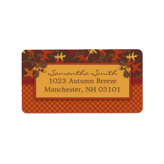 Oak Leaves in Fall Colors for Thanksgiving Address Label