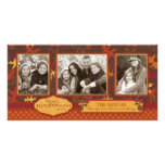 Oak Leaves in Fall Colours for Thanksgiving Photo Card Template