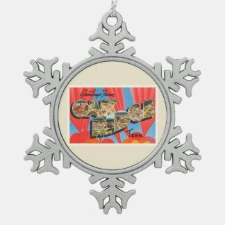 Oak Ridge Tennessee TN Old Vintage Travel Souvenir Snowflake Pewter Christmas Ornament