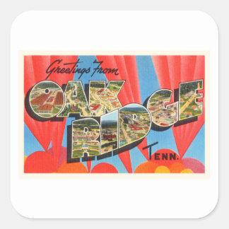 Oak Ridge Tennessee TN Old Vintage Travel Souvenir Square Sticker