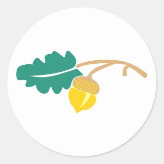 Oak sheet acorn oak leaf acorn classic round sticker