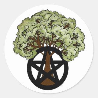 Oak Tree and Pagan Pentacle Round Sticker