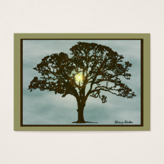 Oak Tree at Sunset Art Card