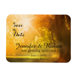 Oak Tree at Sunset Wedding Save the Date Rectangular Photo Magnet
