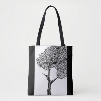 Oak Tree Black Tote Bag