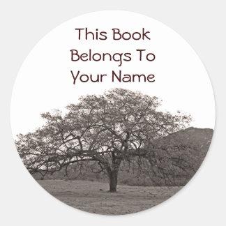 Oak Tree Bookplate Round Sticker