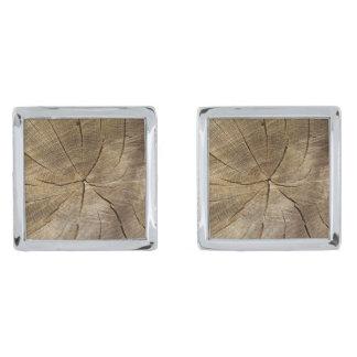 Oak Tree Cross Section Cufflinks Silver Finish Cufflinks