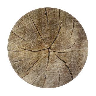 Oak Tree Cross Section Glass Chopping Board