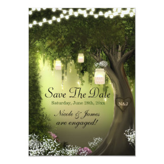 Oak Tree Enchanted Forest Garden Save the Dates Card