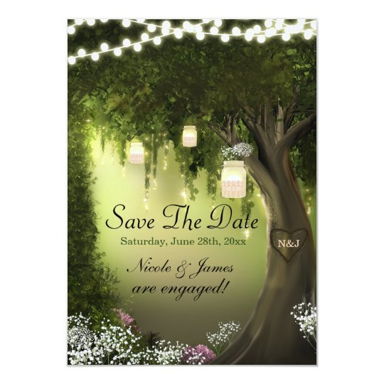 Oak Tree Enchanted Forest Garden Save the Dates
