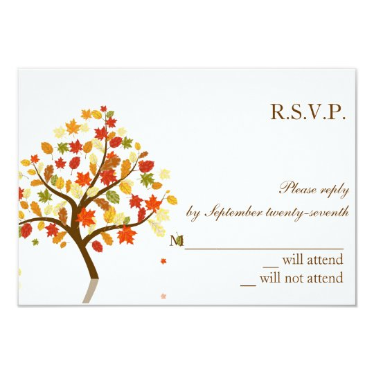 Oak Tree Fall Autumn Wedding RSVP Response Card