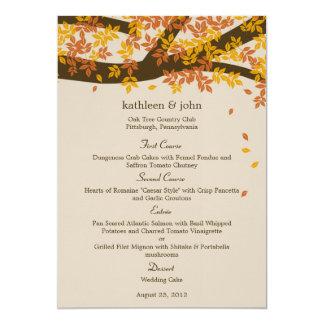 Oak Tree Fall Wedding Menu Card 13 Cm X 18 Cm Invitation Card