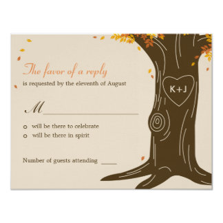 Oak Tree Fall Wedding RSVP / Response Card 11 Cm X 14 Cm Invitation Card