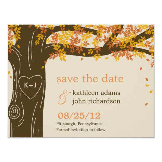 Oak Tree Fall Wedding Save The Date Card