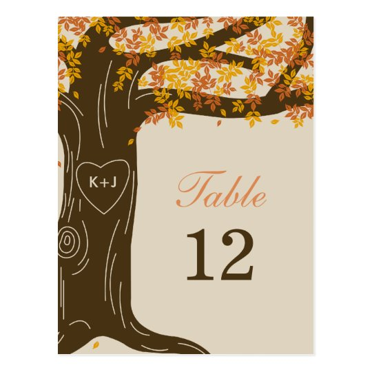 Oak Tree Fall Wedding Table Number Card