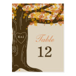 Oak Tree Fall Wedding Table Number Card Post Cards