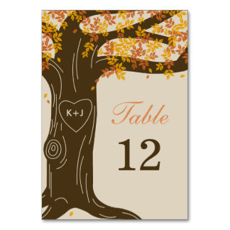 Oak Tree Fall Wedding Table Number Card Table Cards