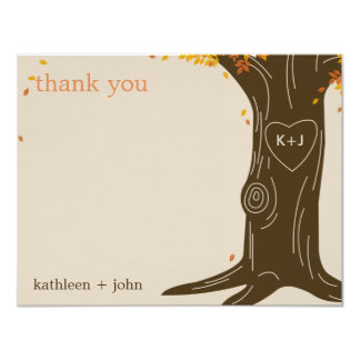 Oak Tree Fall Wedding Thank You Card 11 Cm X 14 Cm Invitation Card