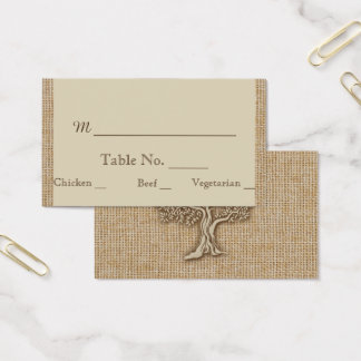 Oak Tree on Burlap Wedding Place Cards