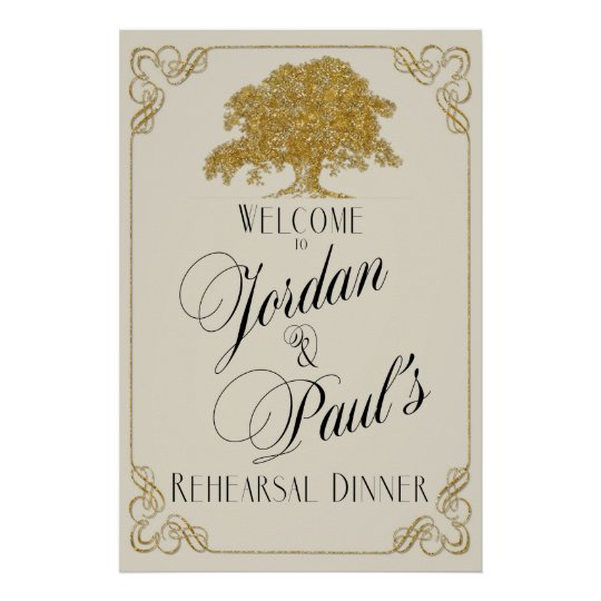Oak Tree Plantation in Gold Glitter Rehearsal Poster