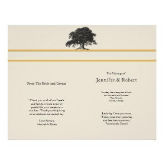 Oak Tree Plantation in Gold Wedding Program Flyers