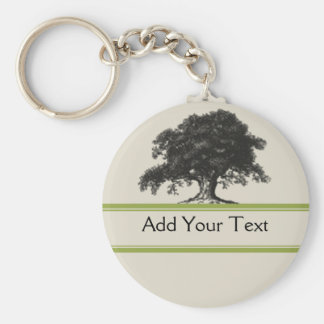 Oak Tree Plantation in Green Basic Round Button Key Ring
