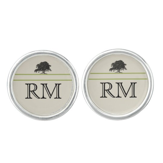 Oak Tree Plantation in Green Wedding Cuff Links