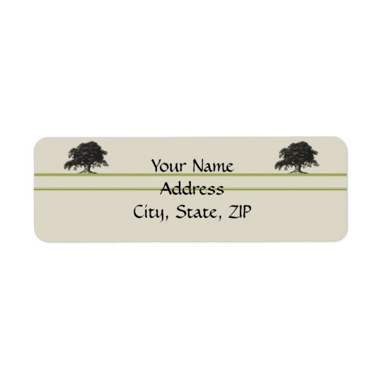 Oak Tree Plantation in Meadow Green Return Address Label
