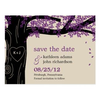 Oak Tree Purple Wedding Save The Date Postcard