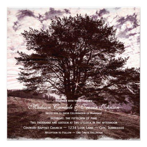 Oak Tree Rustic Country Wedding Invitations